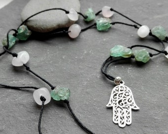 Gemstone necklace, apatite and rose quartz, sterling silver hamsa pendant,  chakra jewelry, healing crystals