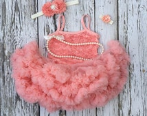 Tutu dress. Baby girl 1st birthday outfit. First birthday. Baby tutu. Peach birthday outfit. 2nd birthday outfit