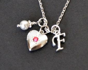 LITTLE HEART LOCKET, Pink Birthstone Necklace, Small Silver Heart Locket Necklace, Initial Necklace, Pearl Necklace, Girls Locket Necklace