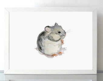 Hamster art hamster Watercolor painting - Giclee Print - hamster mouse rat - Nursery Animal Painting - hamster illustration hamster painting