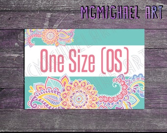 Paisley Size Display Cards - 4x6 inches