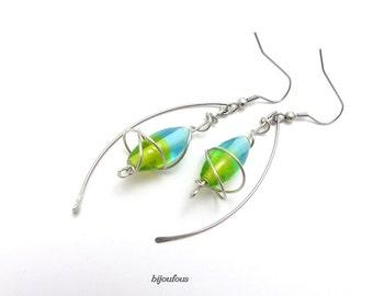 Boucles d'oreilles vert bleu, perle en verre et acier inoxydable
