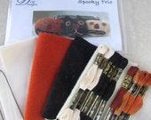 Primitive Punch Needle KIT ~ Pumpkins & Black Cat ~ PunchNeedle Bowl Filler pattern - Folk Art - complete needle punch kit - halloween -fall