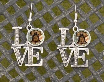 Philadelphia Liberty Bell LOVE Earrings - PHBELL50718