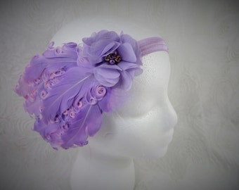 Lavender Feather Headband,  Baby Girl Feather Headband, Baby Headband, Little Girl Headband, Purple Feather headband, Newborn Headband