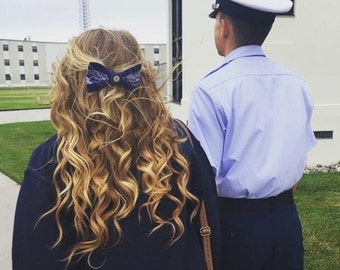Navy and Lace US Coast Guard ODU Bow with Charm
