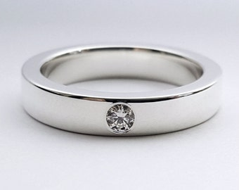 Sterling Silver Diamond Band - Diamond Band, Sterling Silver Diamond Ring, Sterling Diamond Band, Sterling Silver Diamond Wedding Band