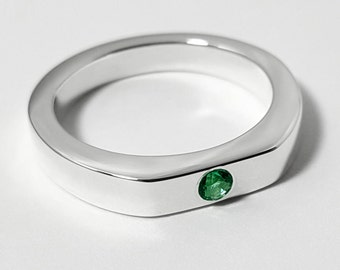 Simple Emerald Ring In Sterling Silver - Emerald Sterling Ring, Emerald Silver Ring, May Birthstone, Emerald Jewelry, Emerald Wedding Band