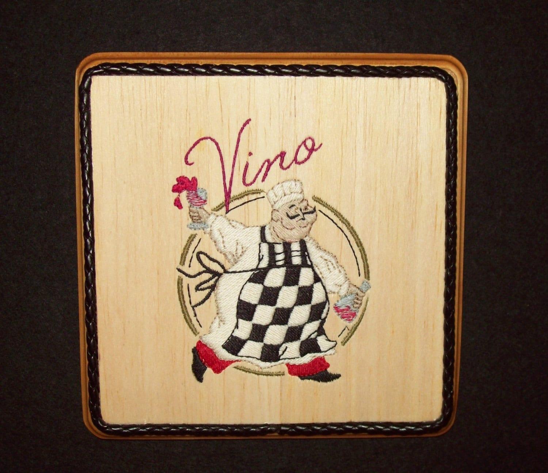 Wine Chef Decor Balsa Wood Embroidery Art Tuscan Kitchen
