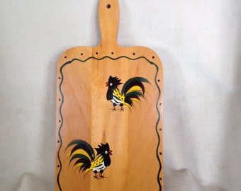 Rooster Cutting Board, Mid-Century Woodpecker Woodware, Kitchen Chicken