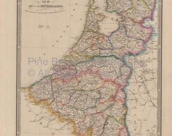 Belgium Holland Vintage Map Wyld 1863 Original SKU:1860wyldlm-002