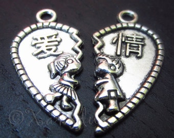 Kissing Lovers Heart Charms - 5/10/20 Wholesale Chinese Character Love Pendant Sets C3838