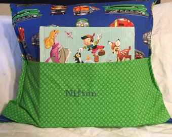 Personalized Kids book pocket pillow with reading light!