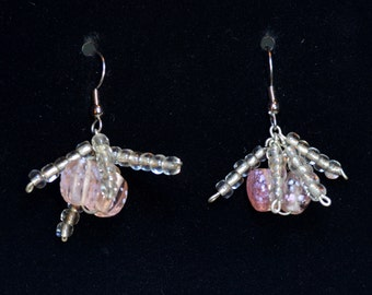 pink grapefruit colored glass beads with clear accent earrings