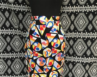 Super High Waist Pencil Skirt BLACK GEOMETRIC