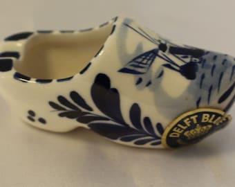 Vintage Blue Delft Shoe Clog, Signed, Elesva Holland, Hand Painted Delft Blue