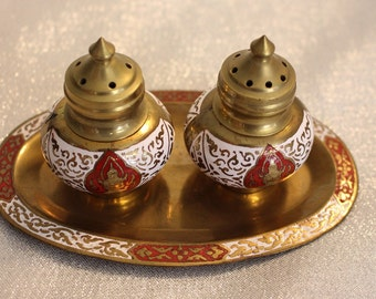 Vintage Siam Brass and Enamel Neillo Goddess Dancer Salt and Pepper Set with tray