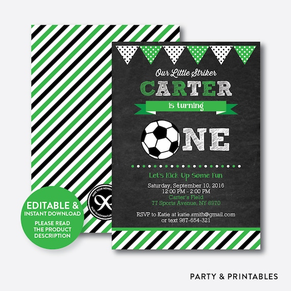 Instant Download Editable One Birthday Invitation Boy First