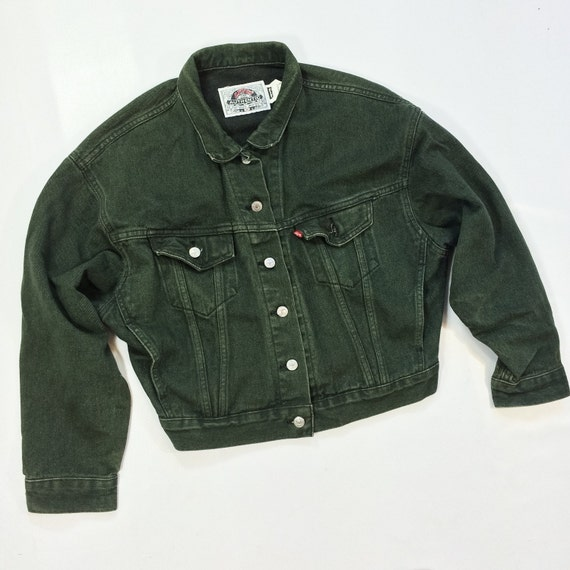 80s Levi's GREEN Denim Jacket Mens Small Medium Dark Wash