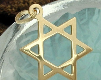 Small hexagram, Star of David pendant 9K GOLD