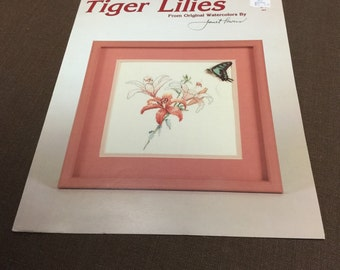 Tiger Lilies Needlework Chart Original Watercolor by Janet Powers Vintage 1987