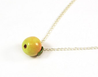 Apple necklace - Green necklace  - fresh green pendant - Polymer clay jewelry - Handmade Apples small charm