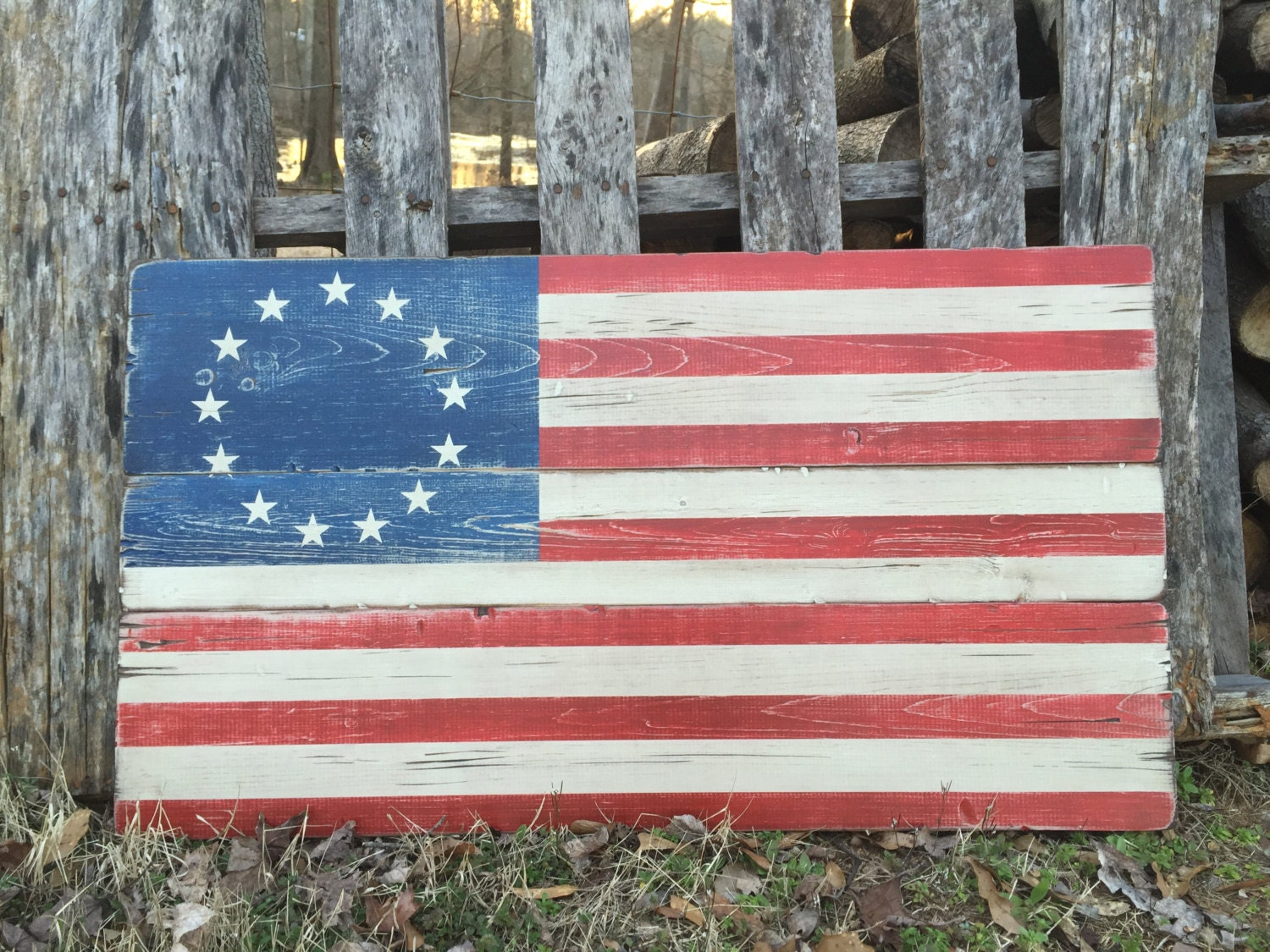 Flag Wooden Sign Betsy Ross Pallet wood Rustic USA