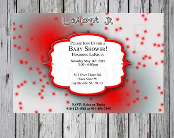 Baby shower invitation  Grey and Red with Starburst