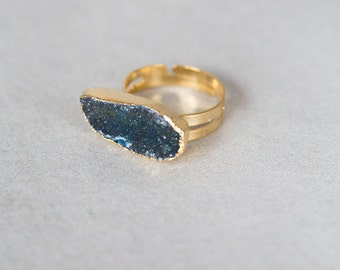 Ocean Blue Druzy Ring - 040400011