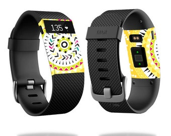 Skin Decal Wrap for Fitbit Blaze, Charge, Charge HR, Surge Watch cover sticker Yellow Aztec