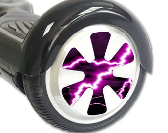 Skin Decal Wrap for Hoverboard Balance Board Scooter Wheels Purple Lightning