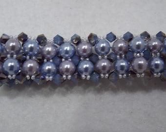 Multicolored, Multistrand Pearl and Swarovski Crystal Bracelet