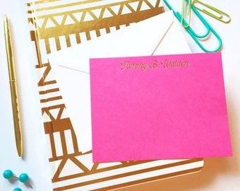 gold foil notecards, monogrammed stationery set, wedding stationery, thank you notecard set, personalized stationery, custom flat notecards