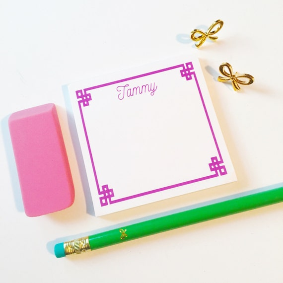 Personalized greek key Sticky Notes, Personalized Post It Notes, patterend notes, Custom Notepad, Note Pad, Office Supplies, chinoiserie
