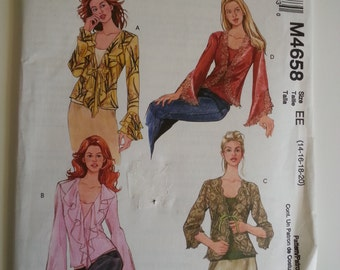 Boho Blouse / hippy top / gypsy / ruffle blouse/long sleeve blouse 2004 sewing pattern, Size 14 16 18 20, Bust 36 38 40 42, McCalls M 4658