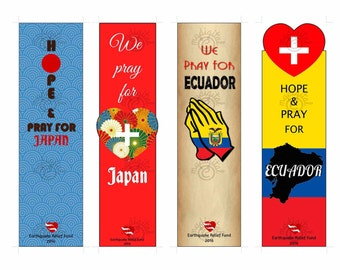 Printable Bookmark for Campaign Japan & Ecuador Earthquake Relief Fund 2016,Instant Download Digital Prints set of 4