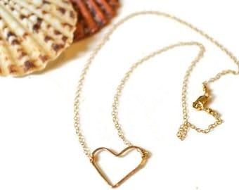 Heart Choker Gold, Gold Heart Necklace, Open Heart Necklace, Mini Heart Choker, Valentine Jewelry
