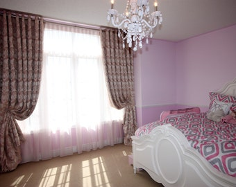 """Custom Drapes """"Magestic Heart"""", Grommet Panel, Floral design drapes, Drapery Panels, Made-to-Order"""
