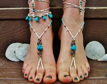 Elephant wedding beaded barefoot sandals  bridal footless sandals beach soleless sandals gypsy  boho