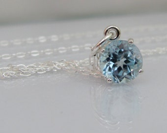 Sky Blue Topaz Pendant in Sterling Silver, Blue Topaz Necklace, 8mm Round Faceted Gemstone, Blue Topaz Pendant, December Birthstone Jewelry