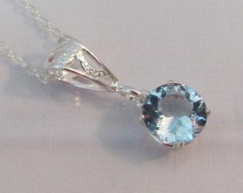 Blue Topaz Pendant in Sterling Silver, Blue Topaz Necklace, 10mm Sky Blue Topaz Gemstone, Blue Topaz Jewelry, December Birthstone