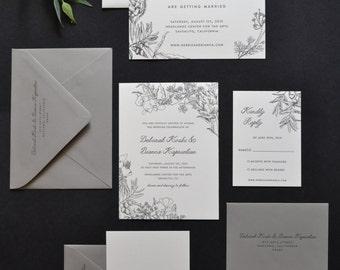 Custom Letterpress Wedding Invitation, One Color - Your Design!