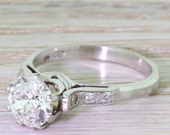 Art Deco 1.87 Carat Old European Cut Diamond Engagement Ring, Dutch, circa 1930