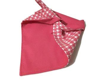 Dog Bandana - medium pink houndstooth print doggy accessory