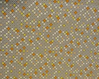 Fat Quarter -diamonds-yellow, gray, orange and white