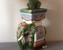 Vintage 13'' high ceramic elephant planter -  The Cracked Plate