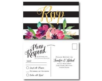 Black & White Wedding RSVP Postcard, Stripes, Gold Glitter, Watercolor Flowers, Flowers Wedding, RSVP Postcard, Wedding Postcard #CL155