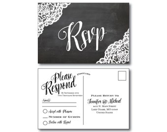 Rustic Wedding RSVP Postcard - Country Chic - Rustic Lace - Fall Wedding - Rustic Lace Wedding - RSVP Postcard - Wedding Postcard - RSVP