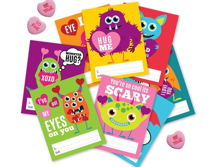Monster Valentines Day Cards / printable DIY card / classroom Valentine for kids / Instant Download Valentine Cards