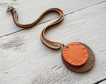 Handmade leather pendant necklace. Leather jewelry. Boho necklace. Brown necklace. Orange necklace. Bohemian jewelry.